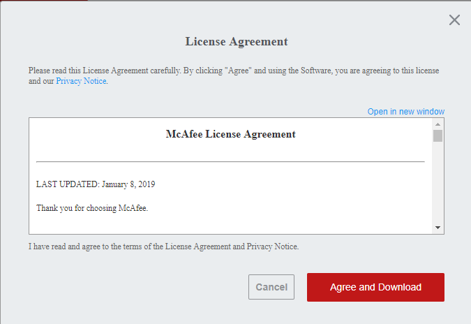 mcafee license agreement page