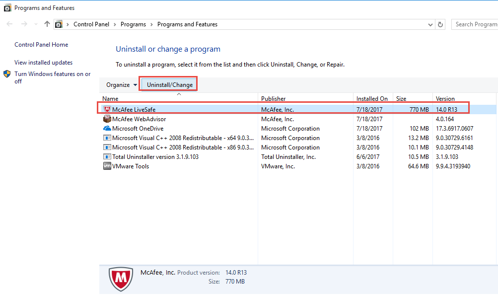 uninstallation of mcafee product in windows 10