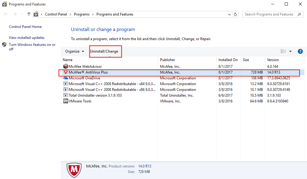 remove McAfee from control panel in windows operating system