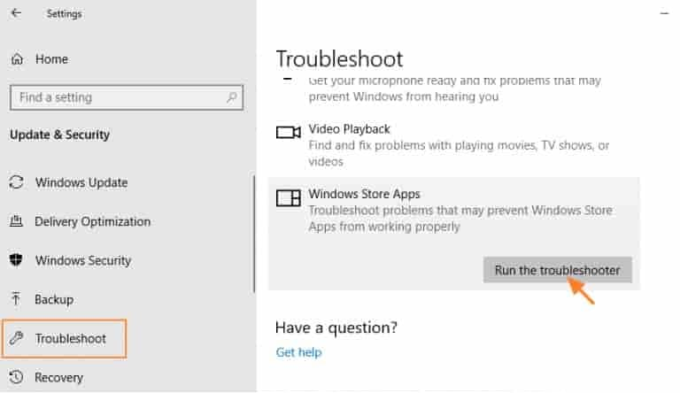 run the troubleshooter in windows 10