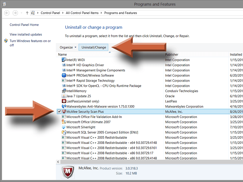 uninstallation of mcafee software from windows 10